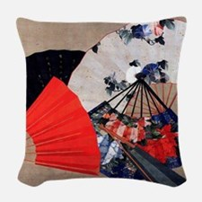 Japanese Fans Woven Throw Pillow