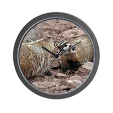Growling Fighting Badgers Wall Clock