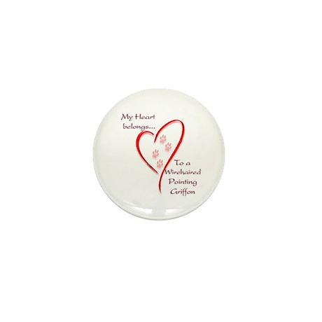 Pointing Griffon Heart Belongs Mini Button