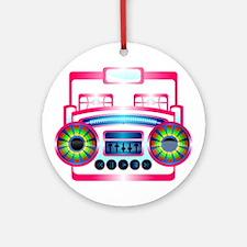 Pink Music Boombox Ornament (Round)