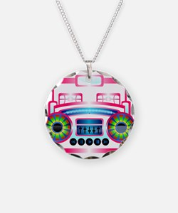 Pink Music Boombox Necklace