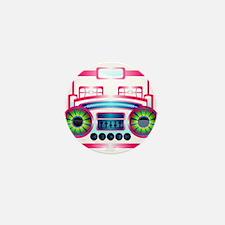 Pink Music Boombox Mini Button