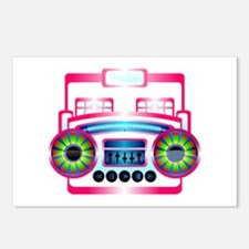 Pink Music Boombox Postcards (Package of 8)