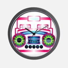 Pink Music Boombox Wall Clock