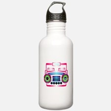 Pink Music Boombox Water Bottle