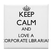 Keep Calm and Love a Corporate Librarian Tile Coas