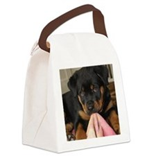 Rottweiller Puppy Canvas Lunch Bag