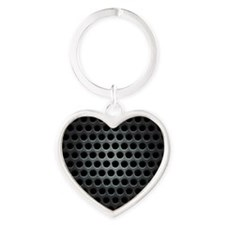Dark Metal Grille Heart Keychain