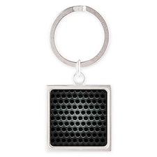 Dark Metal Grille Square Keychain