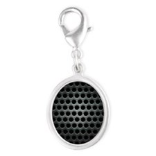 Dark Metal Grille Silver Oval Charm
