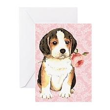 Beagle Rose Greeting Cards (Pk of 10)