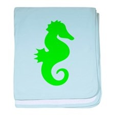 Green Seahorse Silhouette baby blanket