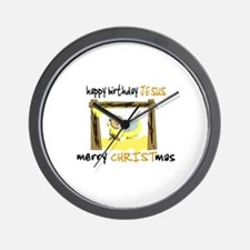 HAPPY BIRTHDAY JESUS - MERRY CHRISTMAS Wall Clock
