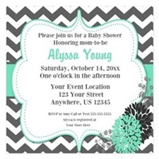 Gray Teal Chevron Invite 5.25 X 5.25 Flat Cards