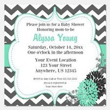 Gray Teal Chevron Invite Invitations