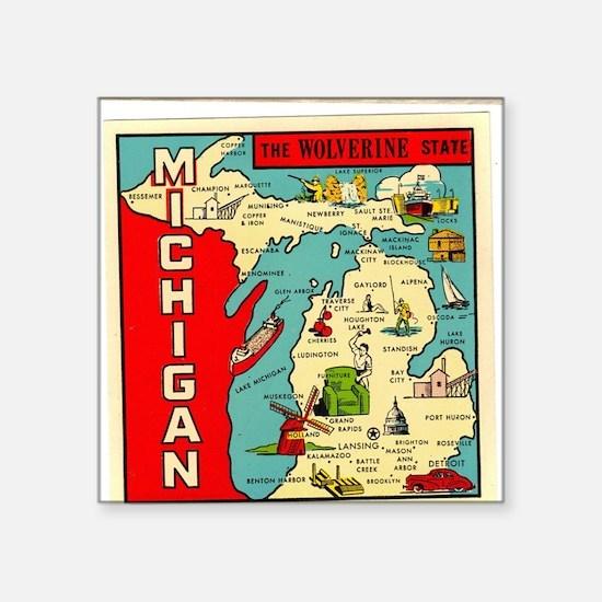 "vintage michigan Square Sticker 3"" x 3"""