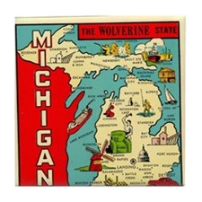 vintage michigan Tile Coaster