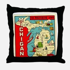 vintage michigan Throw Pillow