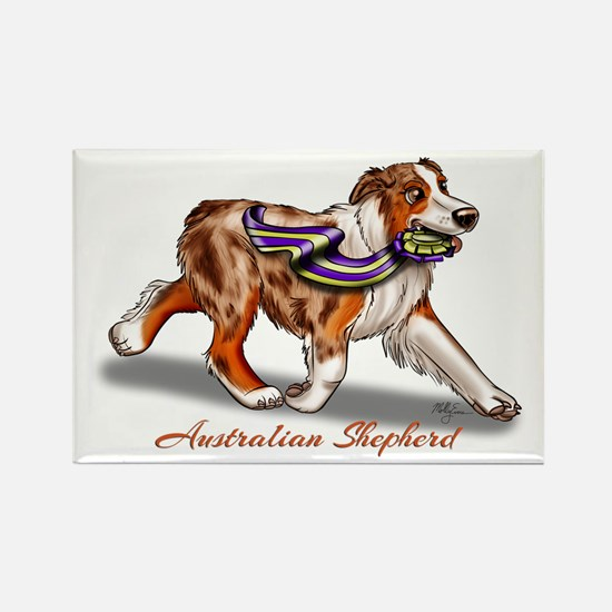 Red Merle Australian Shepherd With Ribbon Magnets