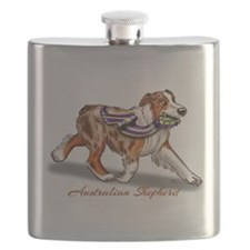 Red Merle Australian Shepherd with Ribbon Flask