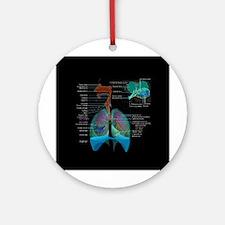 Respiratory system complete dark button Ornament (