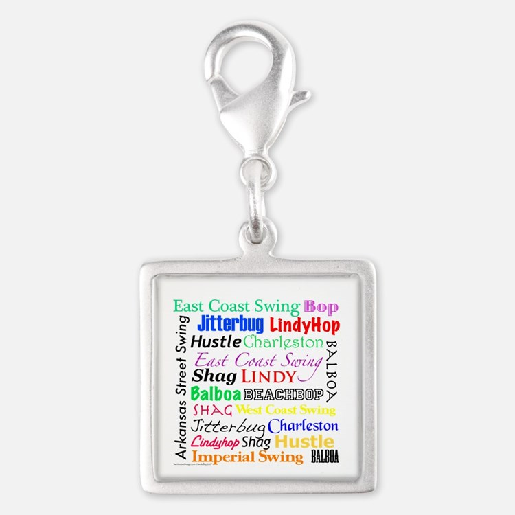All Swing Dances Silver Square Charm