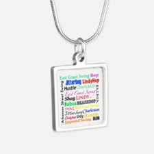 All Swing Dances Silver Square Necklace