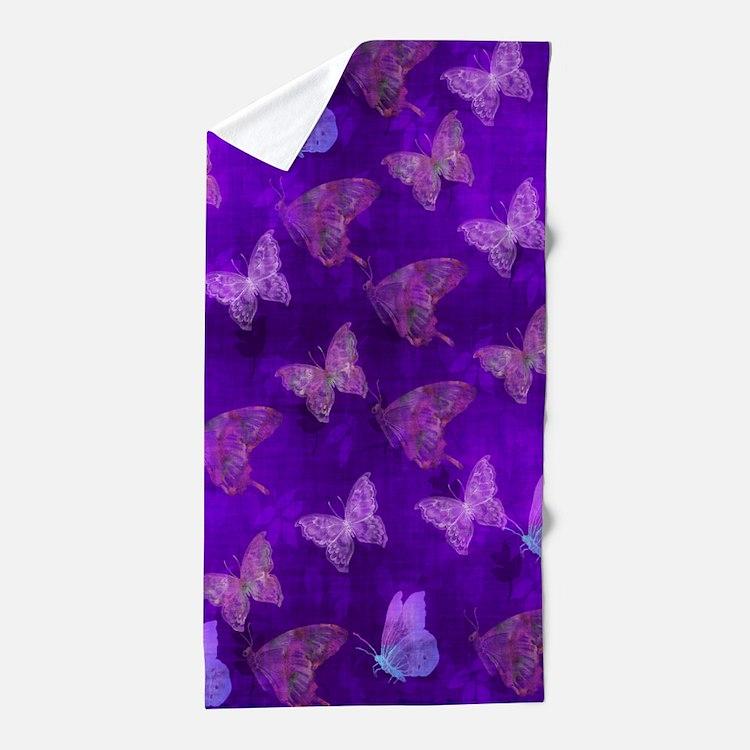 Purple Butterflies Beach Towel