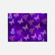 Purple Butterflies 5'x7'Area Rug