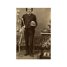 Edgar Allan Poe With Skeleton Vic Rectangle Magnet