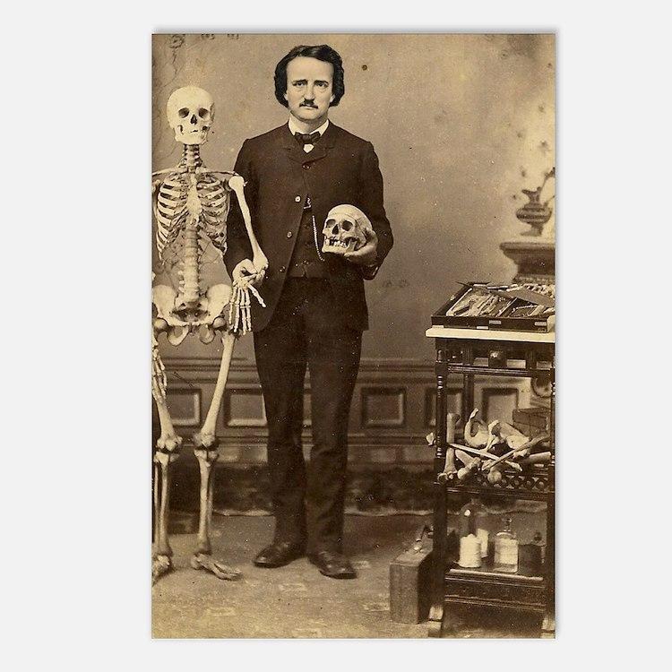 Edgar Allan Poe With Skel Postcards (Package of 8)