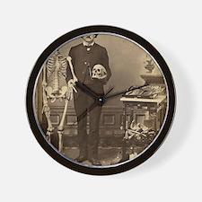 Edgar Allan Poe With Skeleton Victorian Wall Clock