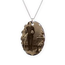Edgar Allan Poe With Skeleton  Necklace Oval Charm