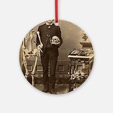 Edgar Allan Poe With Skeleton Victo Round Ornament