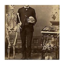 Edgar Allan Poe With Skeleton Victori Tile Coaster