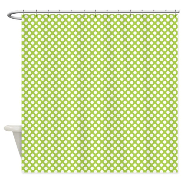 Green And White Polka Dots Shower Curtain By Colorfulpatterns