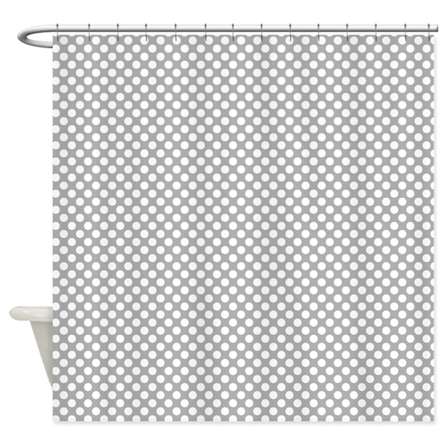 grey and white polka dots shower curtain by colorfulpatterns. Black Bedroom Furniture Sets. Home Design Ideas