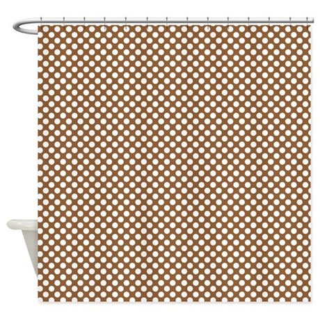 Brown And White Polka Dots Shower Curtain By Colorfulpatterns