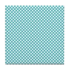 Blue and White Polka Dots Tile Coaster