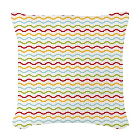 Colorful Waves Woven Throw Pillow