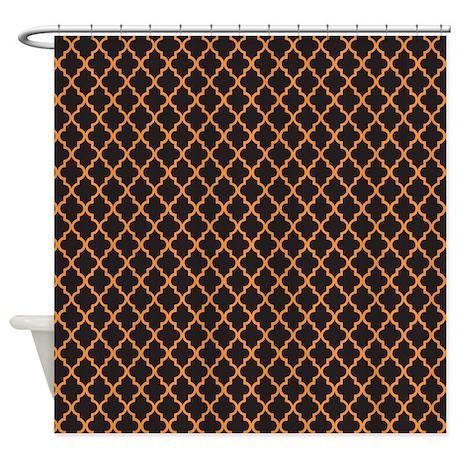 Orange And Black Quatrefoil Shower Curtain By ColorfulPatterns
