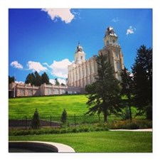 "Manti Temple Square Car Magnet 3"" x 3"""