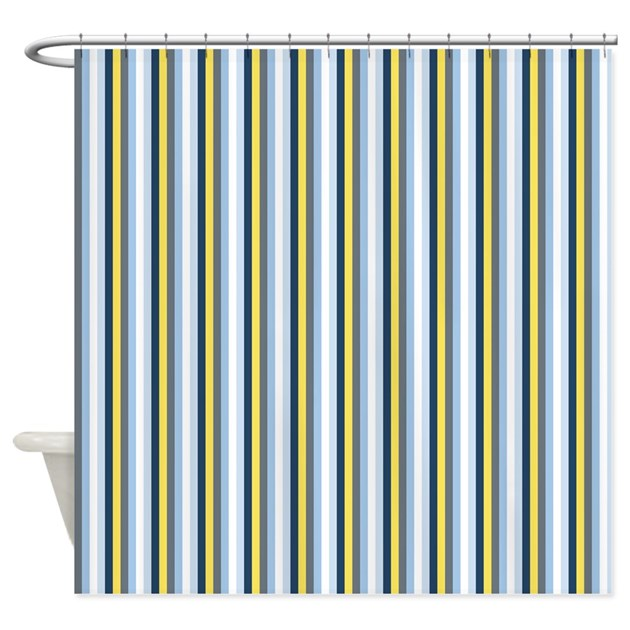 Yellow And Blue Stripes Shower Curtain By ColorfulPatterns