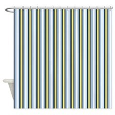 Yellow And Blue Stripes Shower Curtain