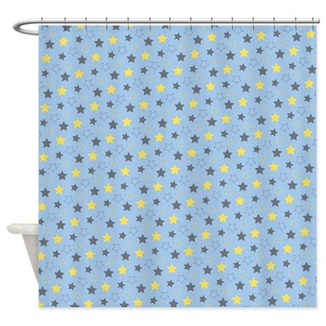 Yellow And Blue Stars Shower Curtain By Colorfulpatterns