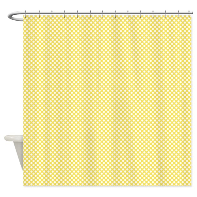 yellow and white polka dots shower curtain by colorfulpatterns. Black Bedroom Furniture Sets. Home Design Ideas