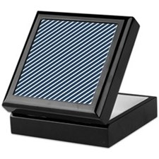 Blue And White Stripes Keepsake Box