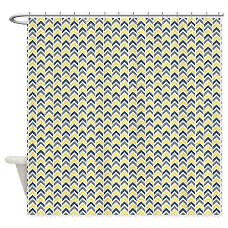 Yellow And Blue Arrows Shower Curtain By ColorfulPatterns