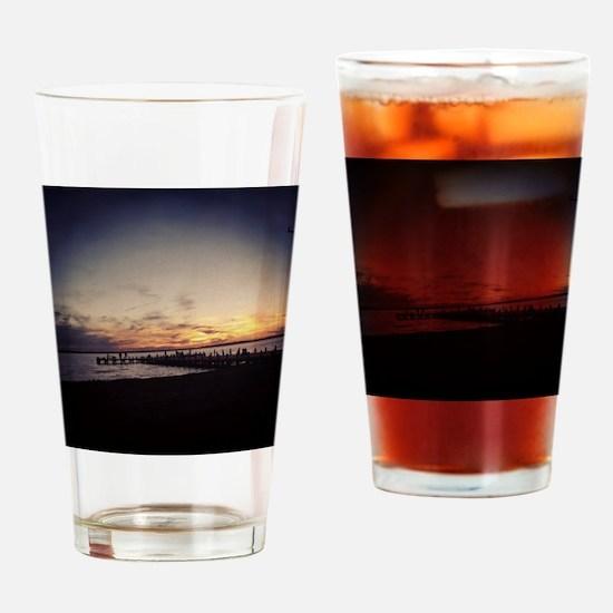 Sun Goes Down on Seaside Drinking Glass
