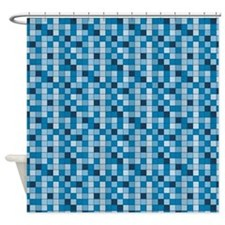 Blue Mini Tile Shower Curtain